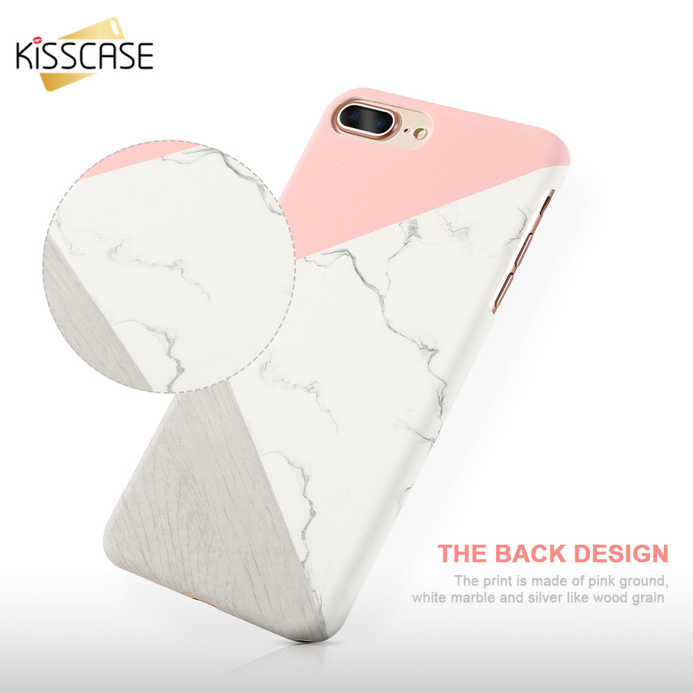 KISSCASE Hit Color Marble Stone Case For iPhone 7 7 Plus 6 6s Plus 5s SE Thin Hard Plastic Phone Back Cover For iPhone 7 6 Case