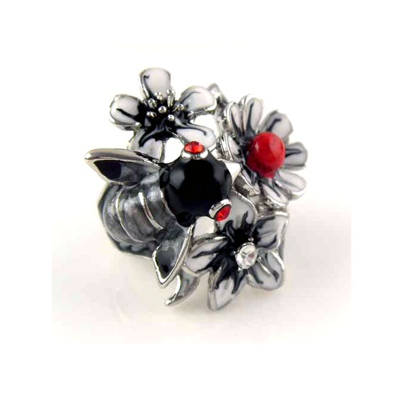 Vintage Floral Enamel Ring for Women Party Jewelry Cocktail Rings Flower Bee Cocktail Insect Ring Detail Collier Femme Rn-383