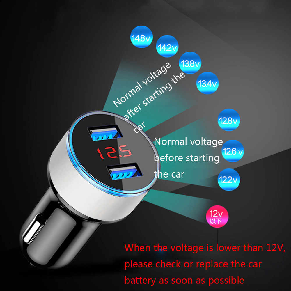 3.1A Dual USB Car Charger 2 Port LCD Display 12-24V Cigarette Socket Lighter Fast Charging Vehicle Charger For Smart Phone J01