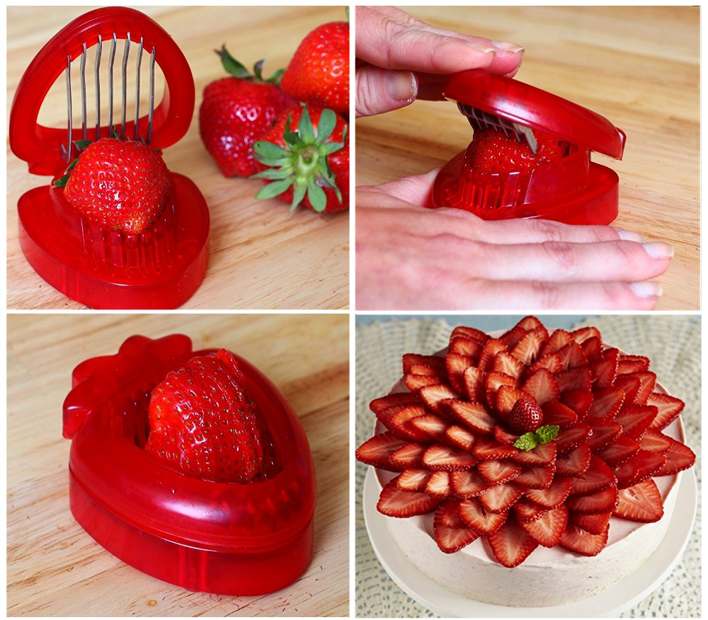 1 pc red strawberry slicer plastic fruit carving tools salad cutter