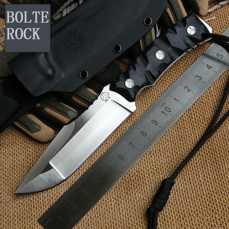 New ROCK Fixed D2 Blade font b Knife b font Bolte Survival font b Knives b