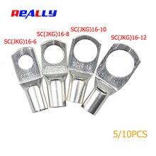 Действительно SC16-6 16-8 16-10 16-12 медный кабельный наконечник Комплект отверстие для болта луженые кабельные наконечники клеммы батареи медный носик разъем провода