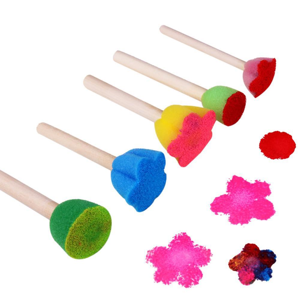 5Pcs Wooden Sponge Painting Brushes DIY Graffiti Tools Kids Flower Stamp Drawing Toys Baby Early Educational Toys For Children
