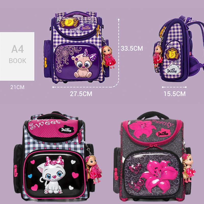 Delune Marke Floral Kinder Schule Taschen für Mädchen Blumen Orthopädische Rucksack Primäre Satchel Mochila Infantil Grade 1-5
