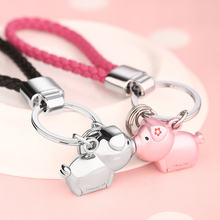 New Arrival Kiss Pig Couple Keychain Cute Animal Car Key Chain for Lover Christmas Gift Fashion Souvenir with Gift Box SP1983 брелок couple lover keychain