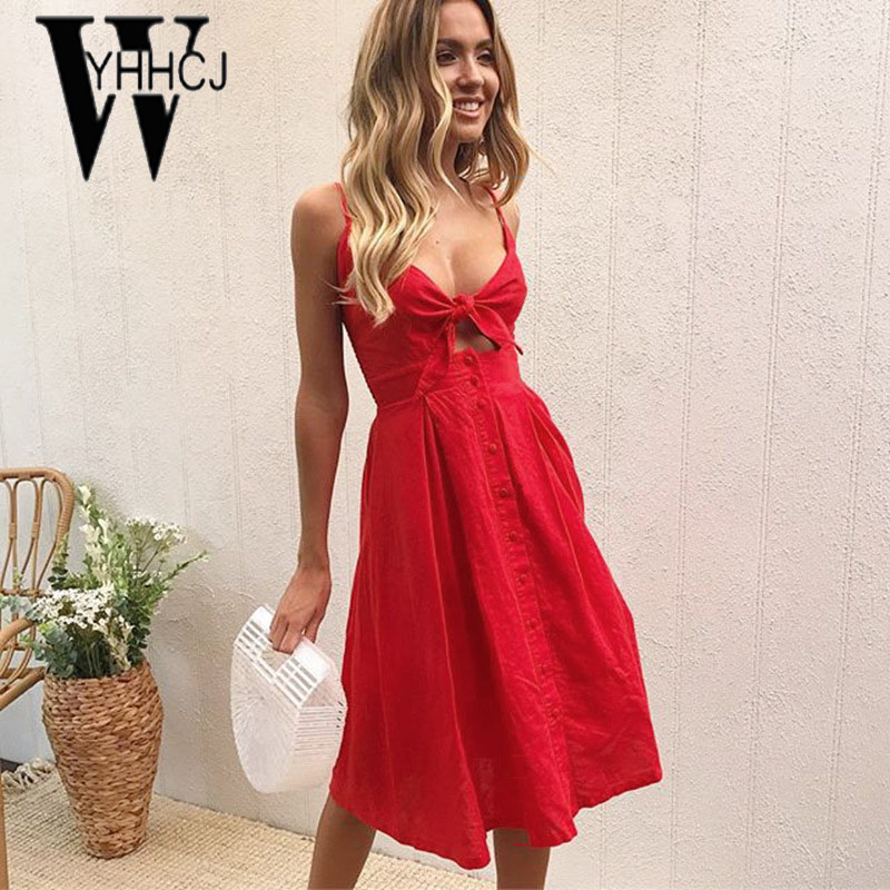 WYHHCJ 2018 sexy off shoulder summer dress strap sleeveless bow button women dress casual lace up v-neck backless dresses female 2018 ladies women casual knitted dress sexy strap slip sleeveless v neck solid home bottoming straight sweater dress