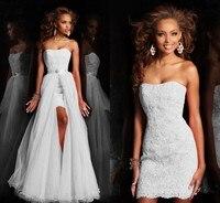 Nuevo Diseño Alto Bajo Corto Sin Tirantes Vestido de Novia Blanco Puro vestido de Novia Con Falda desmontable Desmontable de cristal de Lentejuelas encaje