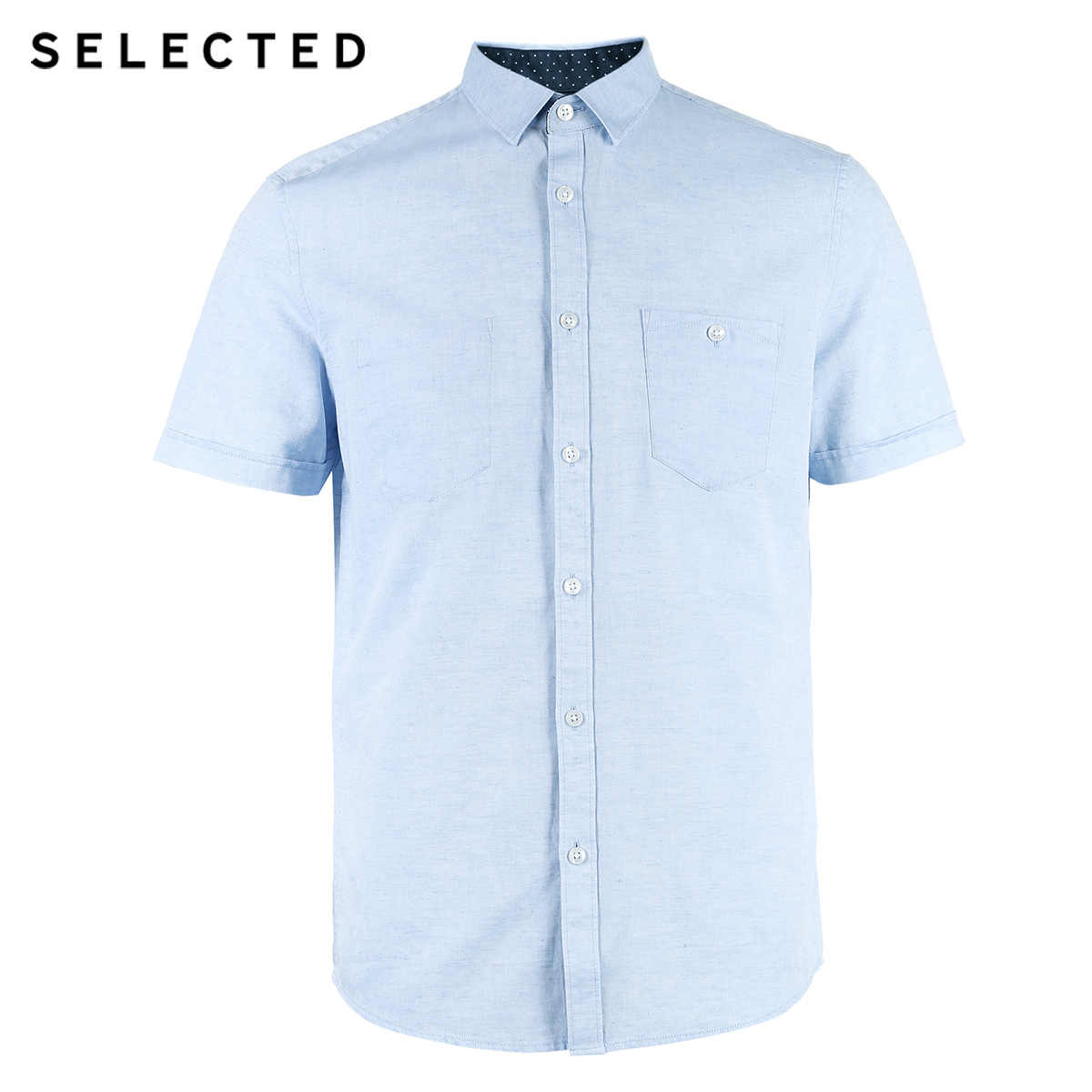 選択された男性の綿とリネンわずかなストレッチ純粋な色指摘襟レギュラーフィット半袖シャツ C | 418204544