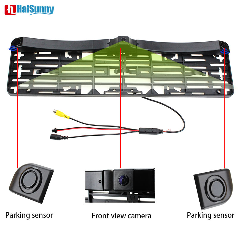 HaiSunny EU European Car License CCD Front View Camera Plate Frame With One Front View Camera Two Radar Parking Sensors