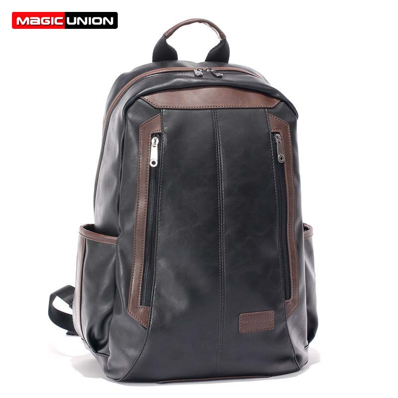 MAGIC UNION Men's Patent Leather Backpacks Fashion Bag for Men Business Travel Mochila Zip Men Laptop Backpack High School Bags marrant genuine leather backpacks men shoulder bag men bag leather laptop bag 15 inch men s luggage travel bags school backpack