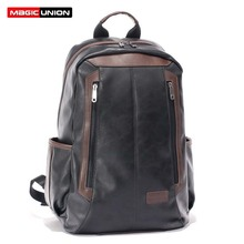 Magic union de charol de los hombres mochilas bolso de la manera para los hombres de negocios hombres laptop mochila de viaje mochila con cremallera bolsas de secundaria