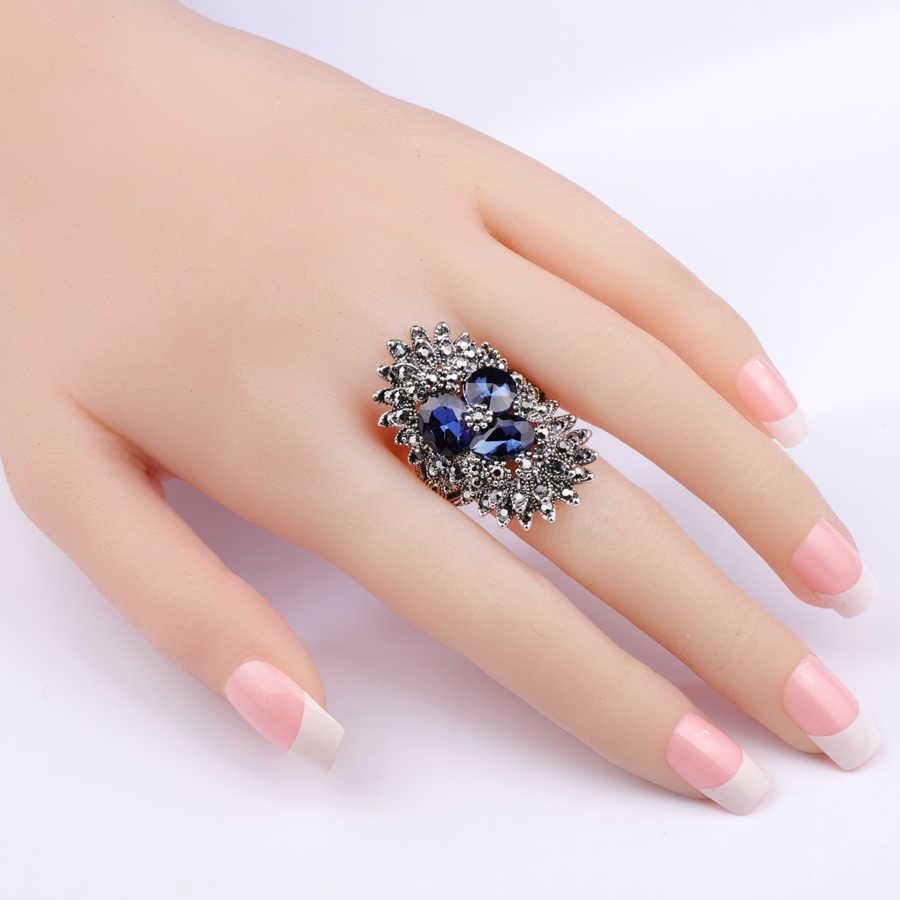 2 色のファッション黒クリスタル葉リングシルバー色ビッグパンク指輪女性ブルガリアジュエリー