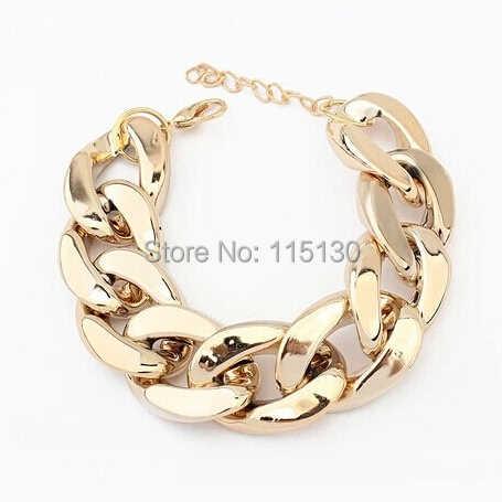 Fishmouton à la mode en plastique épais plat lien chaîne bracelets pour femme acrylique Rihanna Bracelet Bracelet de mode célébrité bijoux