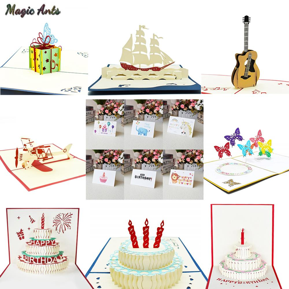 3D Pop UP Cards Birthday Card For Girl Kids Wife Husband Cake Greeting Postcards Gifts With Envelope Stickers