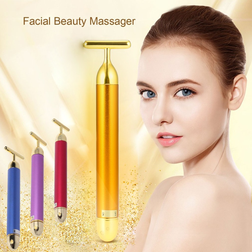 Slimming Face roller   24k Gold Colour Vibration Facial Beauty Roller Massager Stick Lift Skin Tightening Wrinkle Bar(China)