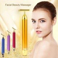 Slimming Face roller   24k Gold Colour Vibration Facial Beauty Roller Massager Stick Lift Skin Tightening Wrinkle Bar Face Skin Care Machine