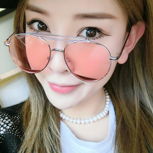 d061e4893 2017 Coréia Do Sul Óculos de Sol Restaurar Rosto Redondo Maré Feminino  Estrela Forte Personalidade Mulheres