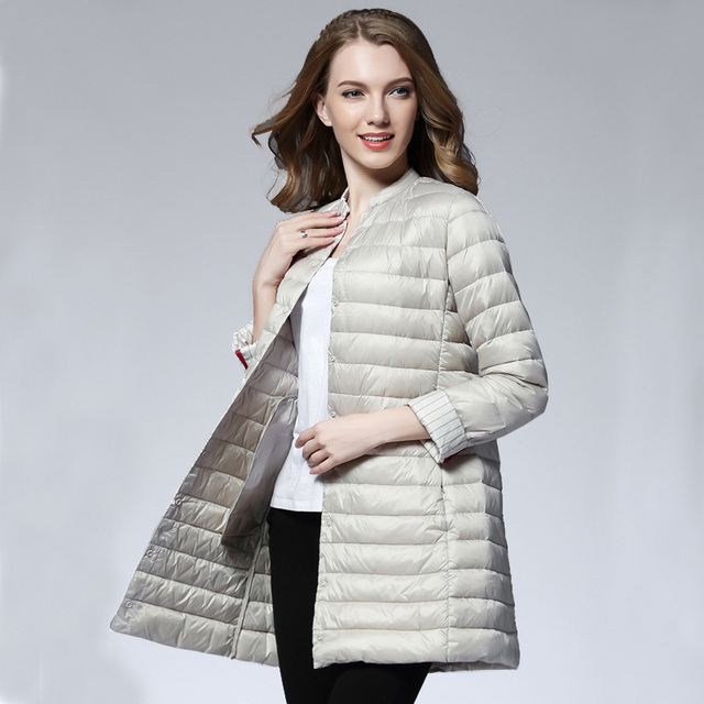 Frau Frühling Gepolstert Warmen Mantel Ultra Licht Ente Daunenjacke Lange Weibliche Mantel Schlank Solide Jacken Winter Tragbare Parkas