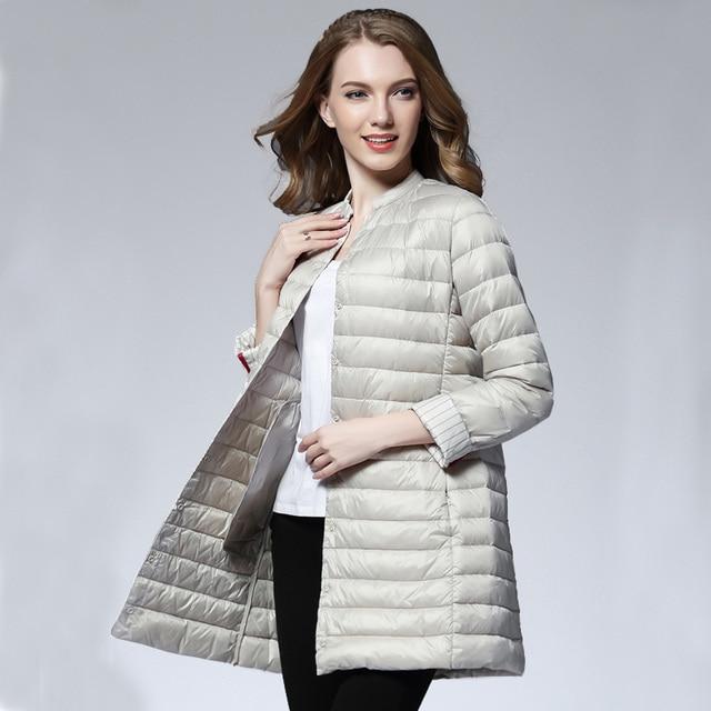 ba21773c37333 Mujer primavera acolchado abrigo cálido Ultra ligero pato abajo Chaqueta  larga Mujer abrigo Delgado sólido chaquetas
