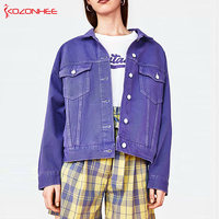 Loose Purple Demin jacket women Boyfriend Women Jacket Bomber jeans jacket women windbreakers # 31