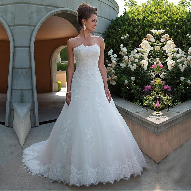 Strapless Neckline Wedding Dress A Line with Lace Appliques Backless Zipper Bride Dress Vestidos de Novia 2019 Robe de Mariee