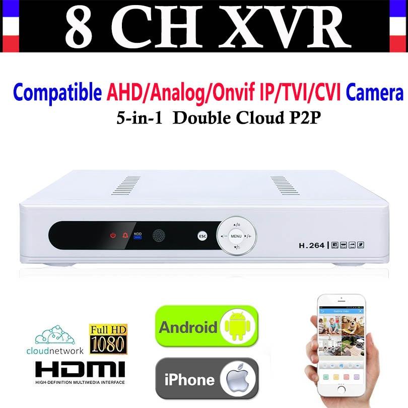 Nouveau CCTV 8CH Canal 1080 P NVR AHD TVI CVI DVR + 1080N 5-en-1 Vidéo Enregistreur Compatibile AHD/Analogique/Onvif IP/TVI/CVI Caméra