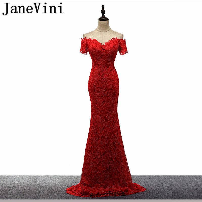 JaneVini 2018 Lace Long   Bridesmaid     Dresses   With Sleeves Mermaid Boat Neck Button Back Formal Red Prom Gowns Vestiti Da Damigella