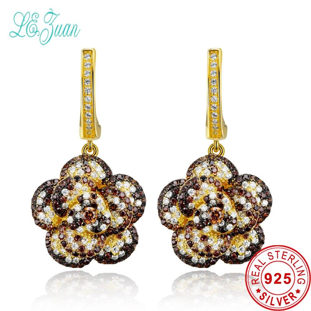 l&zuan earings fashion jewelry pendientes plata 925 baroque style flower multicolor zircon bague drop earrings for women gift fashion viscose vest style dress for women black multicolor size l