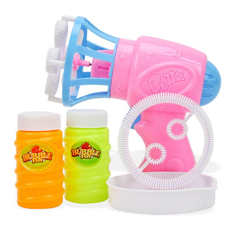 Kid Automatic Electric Bubble Blower Pistol Safety Material Blowing Bubble Water Supplement Liquid Machine Color Random Delivery