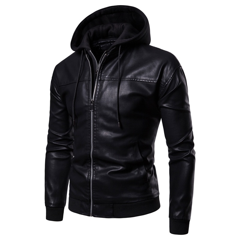 Men Leather Jackets Coats New Arrival PU Hooded Leather Jacket For Men Disassembled Fake Two Zipper Leather Jackets Men