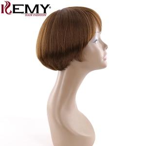 Image 3 - Medium Brown 4# Short Human Hair Wigs With Bangs KEMY HAIR Brazilian Straight Bob Wigs For Black Women Non Remy Fashion Hair