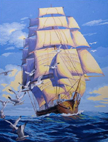 Abstract Picture On Wall Acrylic Ships Plain Sailing DIY Oil Painting Smooth Sailing Drawing By Numbers