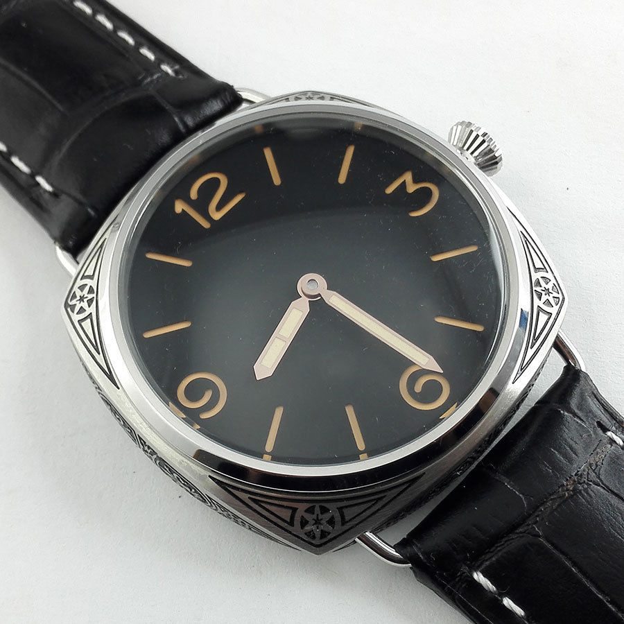 BOMAX MARINA 47mm Seagull Movement Black Dial Carving Military Mechanical Leather Hand Winding Watch Florence