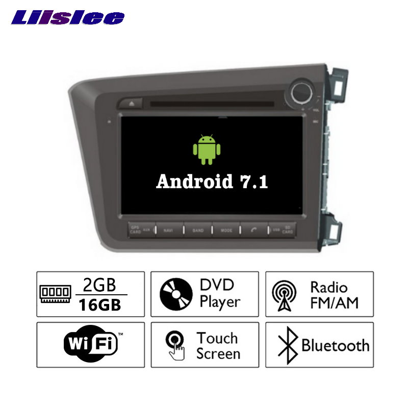 Liislee Android 7.1 2 г Оперативная память для Honda Civic 2012 ~ 2015 автомобиля Радио Аудио Видео Мультимедиа dvd-плеер WI-FI DVR GPS Navi навигации