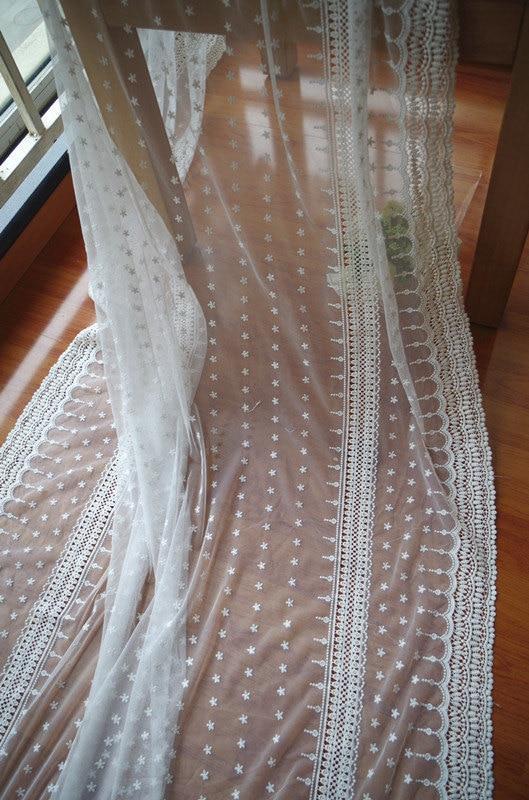 Tela de encaje de tul bordada en algodón crema con flores de - Artes, artesanía y costura - foto 6