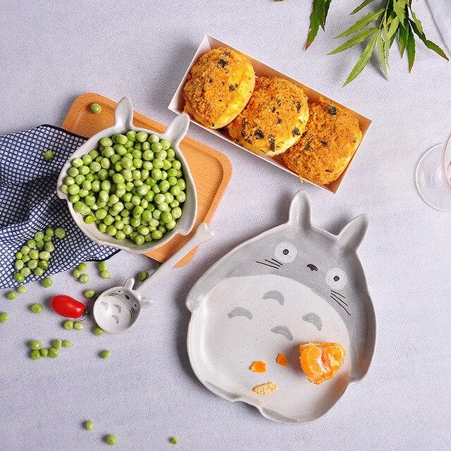Kreatywny 3d Totoro Ceramika Dinner Plate Danie Miska łyżka Zestaw