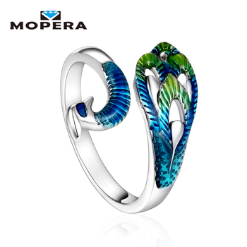 Auspicious Ethnic Style Originality Luxury 925 Sterling Silver Jewelry Products Peacock Enamel Silver Party Ring For Women Gift