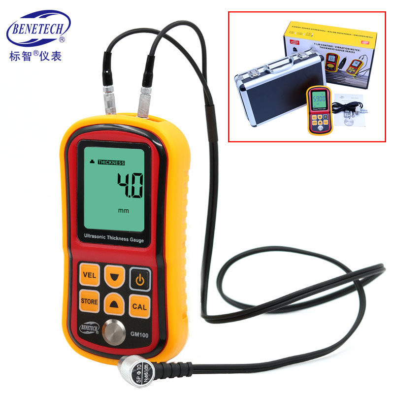 1.2 to 200MM Ultrasonic Thickness Gauge Metal Testing Measuring Instruments Digital LCD Display 0.1mm Resolution