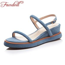 FACNDINLL summer women shoes gladiator sandals real leather wedges high  heels open toe shoes black blue woman dress casual shoes 4b1e504538f3