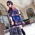Корейский новинка женщин зимой платье большой ярдов тонкий печатных с длинным рукавом короткое платье женщины элегантный сладкий свободное платье G2171