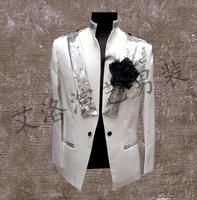 Stand Collar Men Suits Designs Stage Costumes For Singers Men Sequin Blazer Dance Clothes Jacket Style