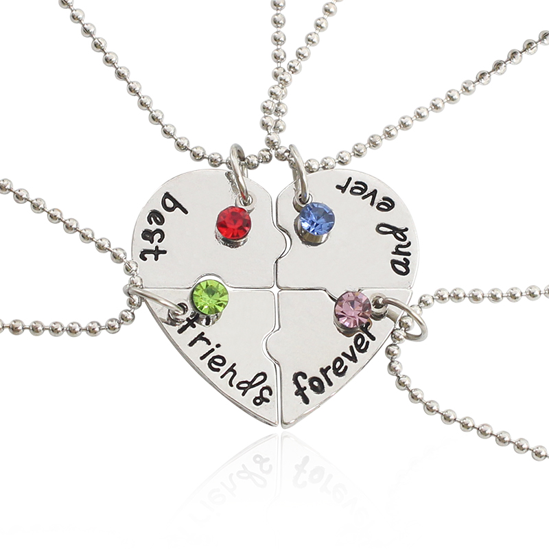 4 Pcs/Set Trendy Best Friend Necklaces Broken Heart Pendant Necklace Inlaid Milti Rhinestone <font><b>BFF</b></font> Necklace For Women <font><b>Bff</b></font> Jewelry image