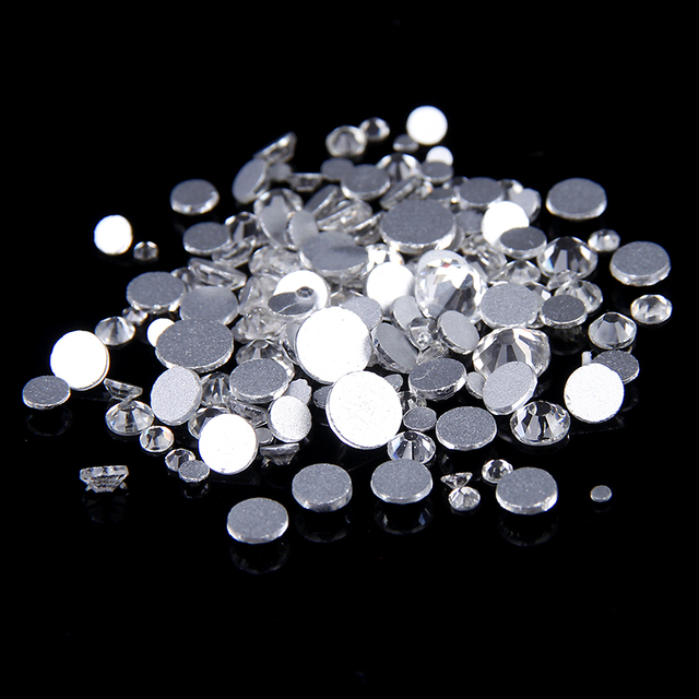 Rhinestones For Nails 1440pcs ss4  1.5-1.7mm Crystal Color Flat Back Non Hotfix Glue On Rhinestones Round Shape High Quality