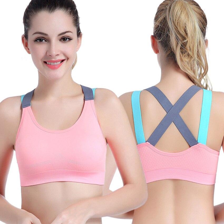 Sexy deportes Bra Top Fitness para mujeres Cruz correas Yoga gimnasio mujer activa desgaste ropa interior acolchada de cultivo tops