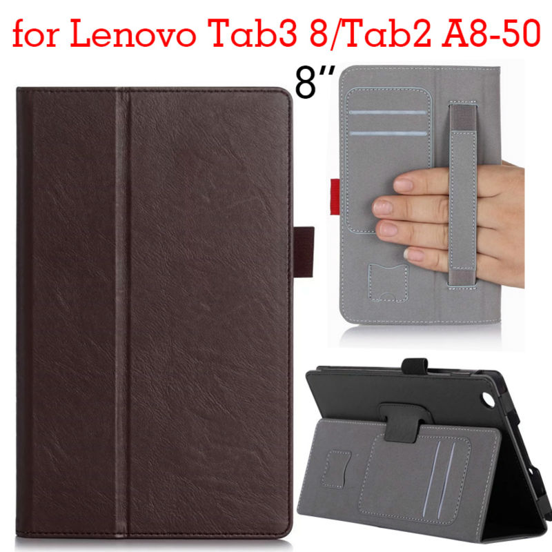Tab 2 A8-50 Tablet funda Cases Leather Case Flip Cover Tab 3 8 Smart Case Stand for Lenovo Tab 2 A8 Tab3 8 With Hand holder Gift ultra slim flip with magnetic pu leather folding stand cover case for lenovo tab 2 a8 50 a8 50f a8 50lc 8 0 tablet case