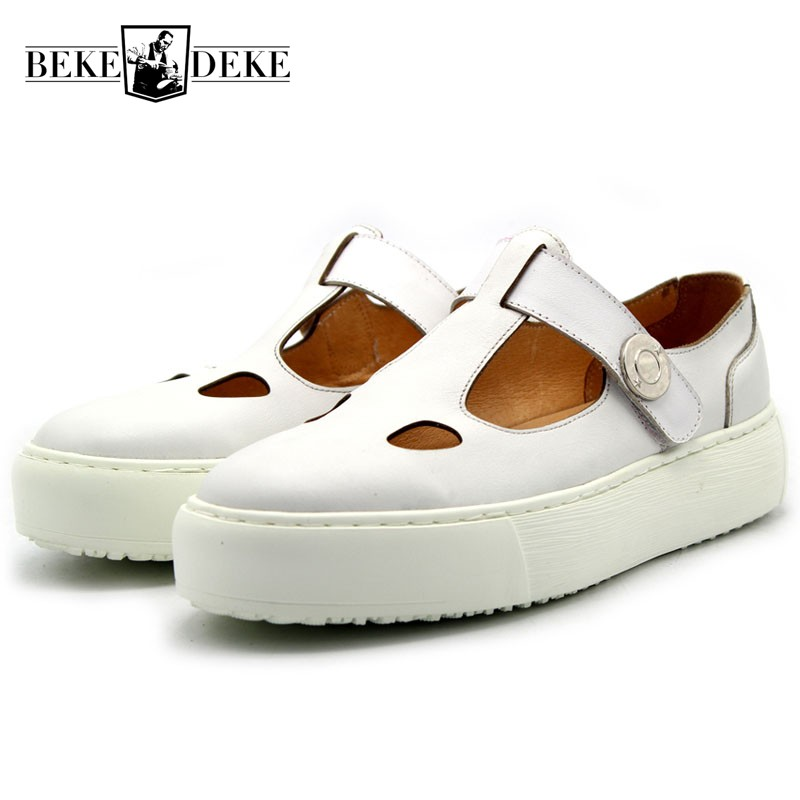 все цены на 2018 New Brand Mens Thick Platform Sandals Italy Runway Round Toe Genuine Leather Shoes Casual Beach Sandals Plus Size Footwear онлайн