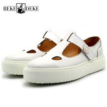 fc0f4159abf384 2018 New Brand Mens Thick Platform Sandals Italy Runway Round Toe Genuine  Leather Shoes Casual Beach
