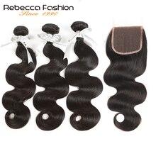 Rebecca Non remy волосы для тела волна человеческие волосы 3 пучка с бразильские волосы с закрытием переплетения пучки с 4X4 кружева закрытие