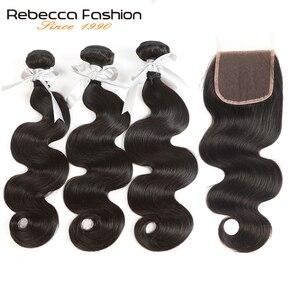 Rebecca não remy onda do corpo cabelo humano 3 pacotes com fecho de cabelo brasileiro tecer pacotes com 4x4 fechamento do laço