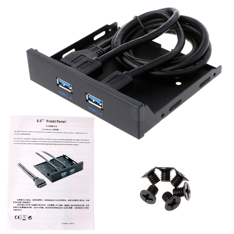 19 pin USB 3.0 Adapter Jacks 3.5 Floppy Bay Internal 20Pin/19Pin To 2-Port USB 3.0 Front Panel Bracket Cable new pc case front panel 2 port usb 2 0 microphone 3 5mm audio port cable 7 8cm pcb